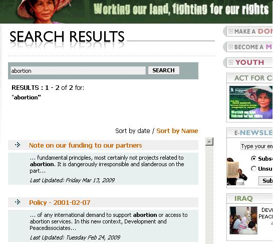 Search results for the word «abortion» on the CCODP web site.