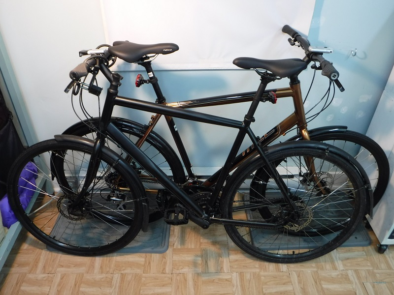Pair of MEC Chinook urban bicycles.
