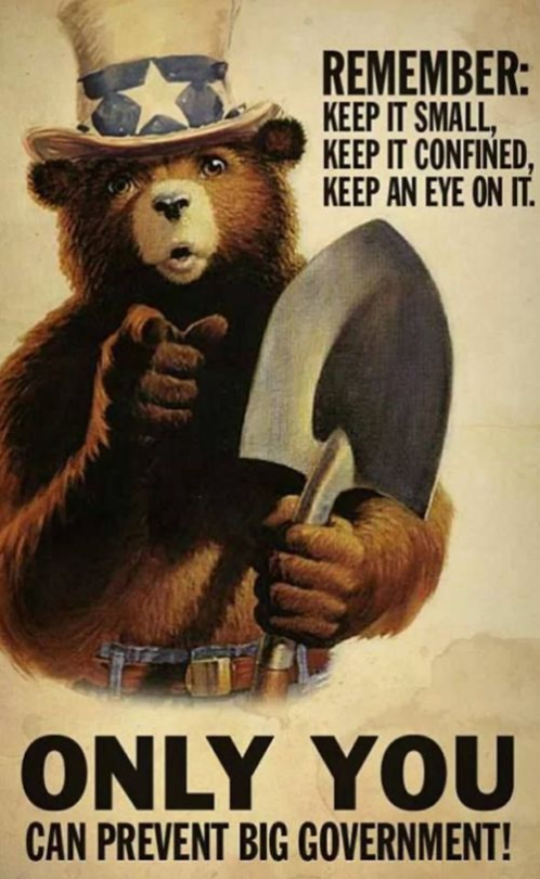 Remember: keep it small, keep it confined, keep an eye on it; ONLY YOU can prevent Big Government!