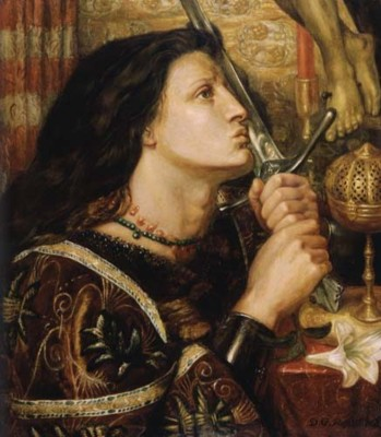 Dante Gabriel Rossetti. Joan of Arc kisses the sword of liberation.