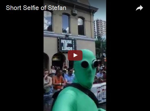 Short selfie of Stefan during the parade.