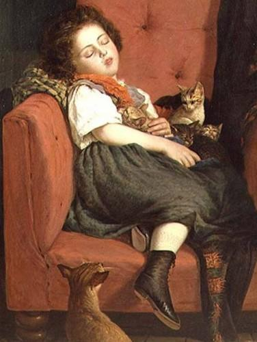 Auguste L'Orange. Girl sleeping with Kittens.