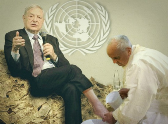 Bergoglio washing the feet of Soros, sitting on a pile of cash, at the UN.