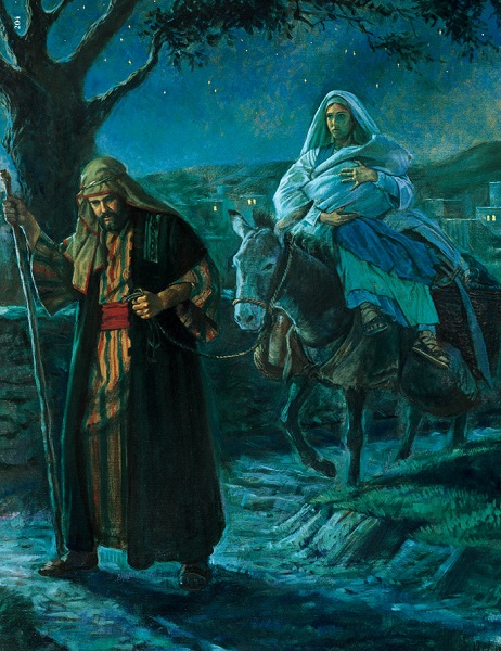Joseph takes Mary and Jesus into Egypt.